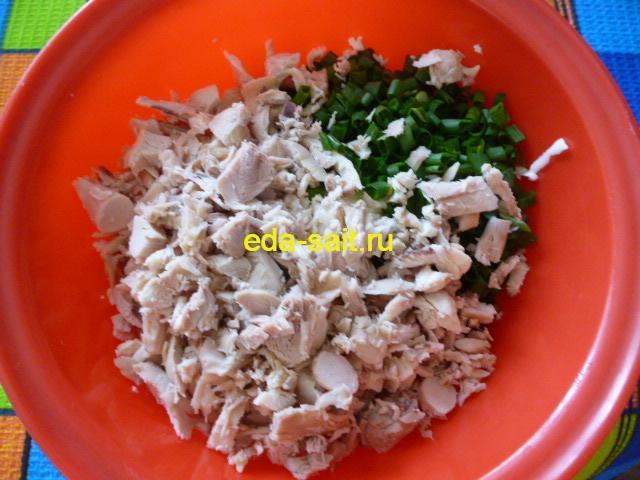 Нарезать куриную грудку и зелень
