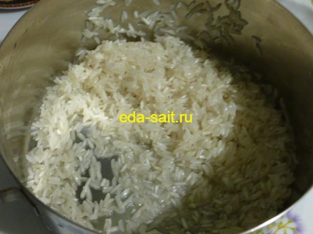 Промытый рис для харчо с говядиной