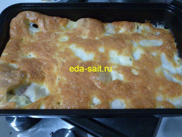Рыба с сыром и яйцами