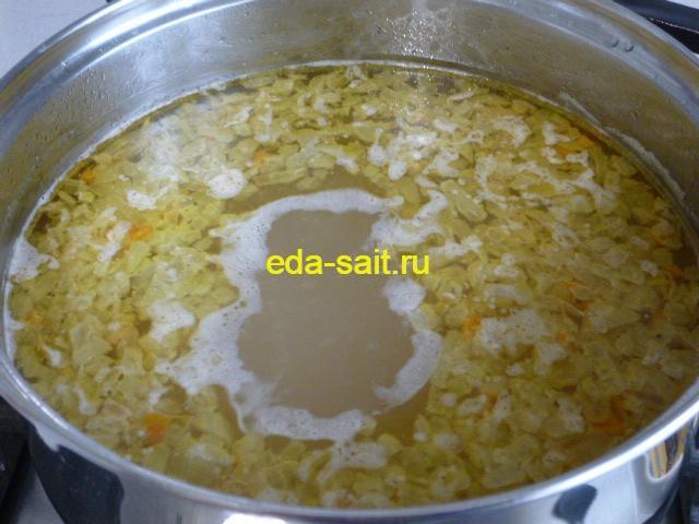 Заложить в суп с брынзой рис