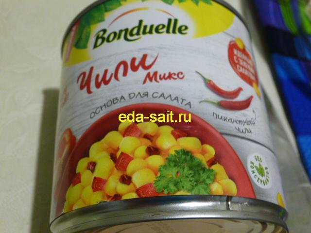 Кукуруза для салата с колбасным сыром