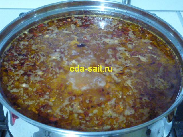 Рассольник на курином бульоне с рисом