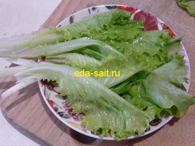 Листья зеленого салата для роллов