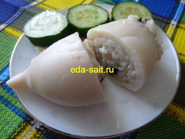 Кальмары фаршированные рисом и грибами пошаговый рецепт с фото