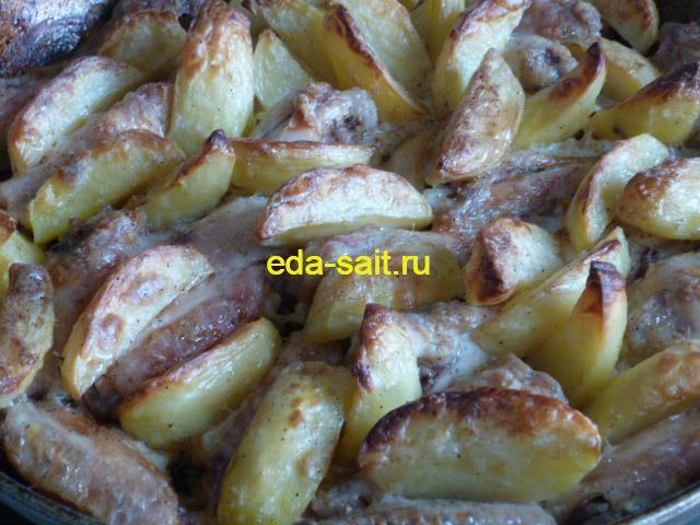 Куриные крылья с картошкой в духовке пошаговый рецепт с фото