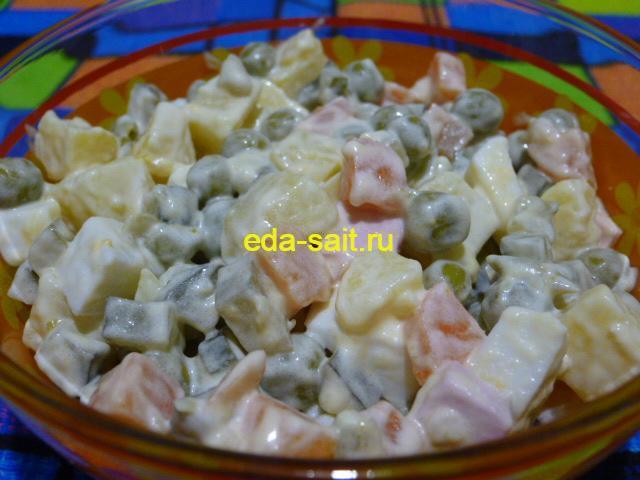 Оливье с морковью и солеными огурцами пошаговый рецепт с фото