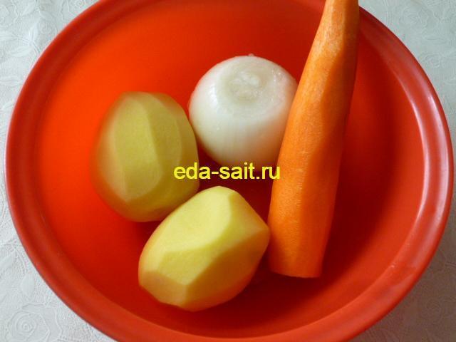 Овощи для рассольника с фрикадельками