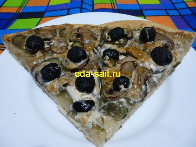 Пицца без сыра с грибами