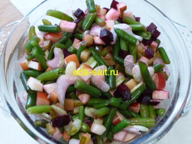 Постный салат из стручковой фасоли пошаговый рецепт с фото