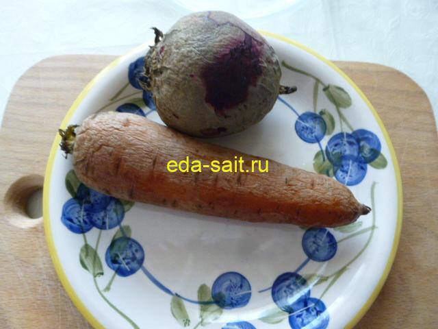 Свекла и морковь для салата из морской капусты