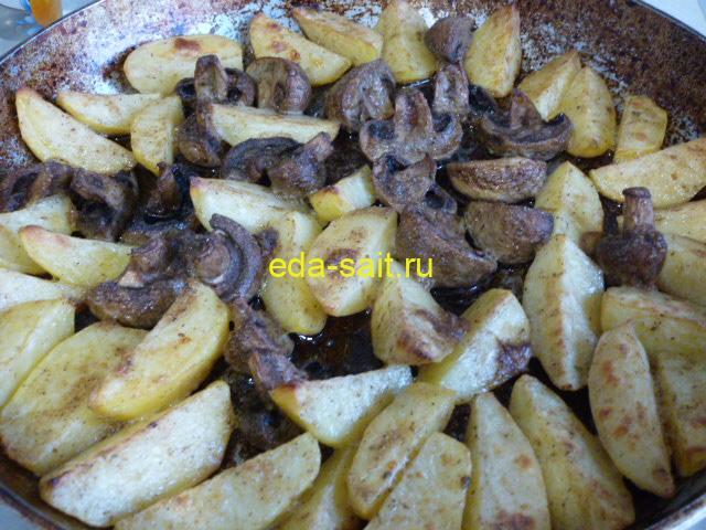 Грибы с картошкой по деревенски