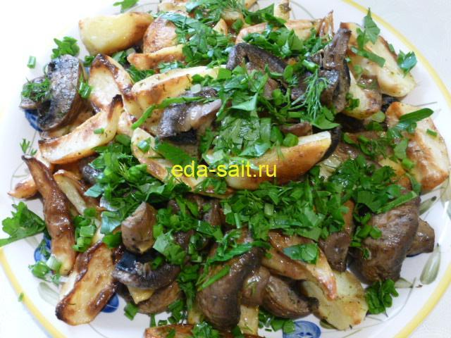 Картошка с грибами по деревенски фото