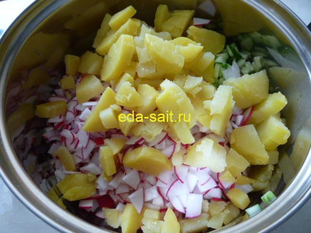 Нарезать картошку в окрошку