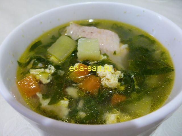Суп со шпинатом и яйцами фото