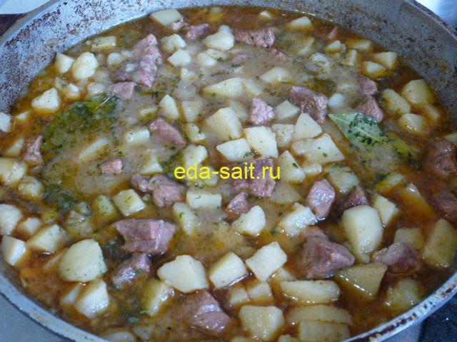 Картошка с говядиной тушеная в казане как приготовить