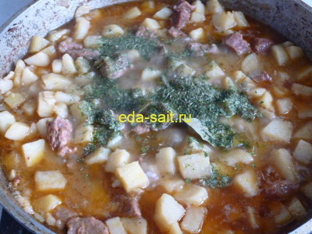 Картошка тушеная с говядиной пошаговый рецепт