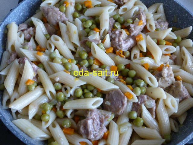 Макароны с зеленым горошком пошаговый рецепт с фото