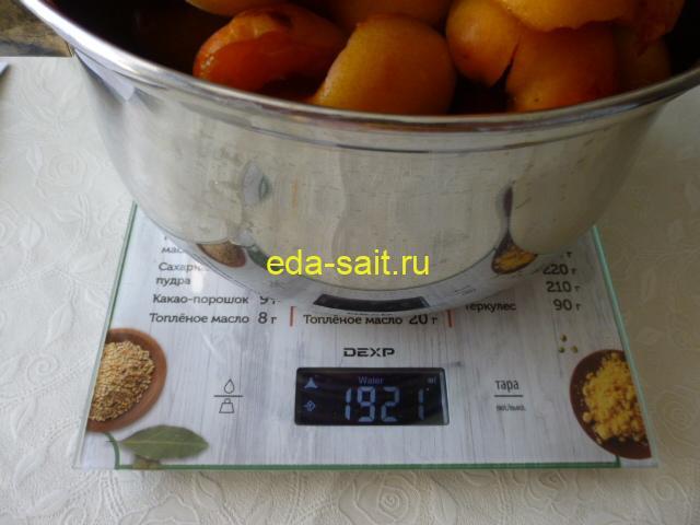 Вес абрикосов для сушки в электросушилке