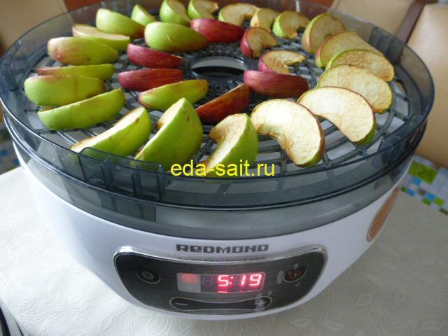 Яблоки сушатся в электросушилке