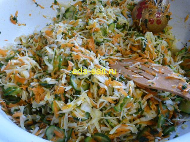 Как приготовить салат с капустой, огурцами и овощами