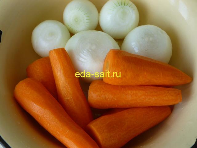 Лук и морковь для кабачковой икры
