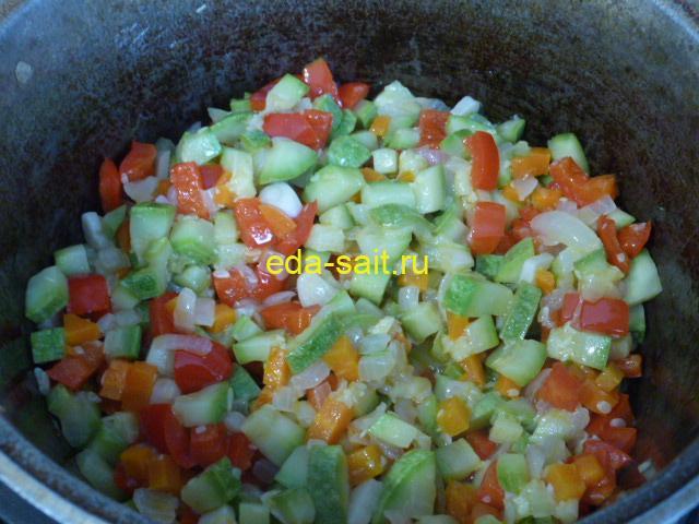 Обжаренные овощи для супа с фасолью