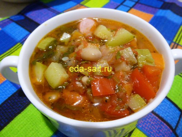Овощной суп с фасолью фото