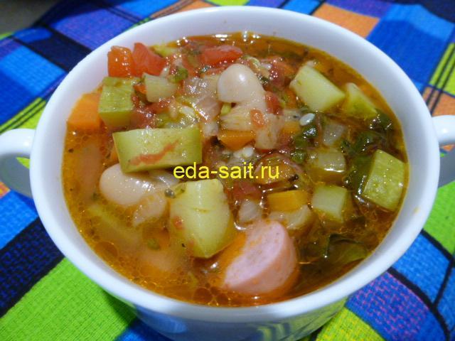 Суп с фасолью и овощами фото